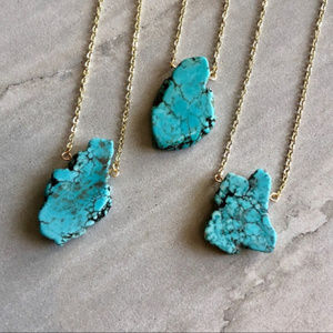 Jewelry - Turquoise Blue Howlite Necklace 14K Gold Plated